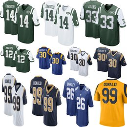 ab751d32b4a 14 Sam Darnold 30 Todd Gurley Ram Jets Football Jersey 99 Aaron Donald 12  Joe Namath 33 Jamal Adams 11 Robby Anderson 16 Jared Goff