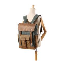 $enCountryForm.capitalKeyWord UK - Dropship Mens Canvas Leather Backpack Vintage Waterproof Laptop Daypacks Large Capacity Students School Bags Big Rucksack Retro