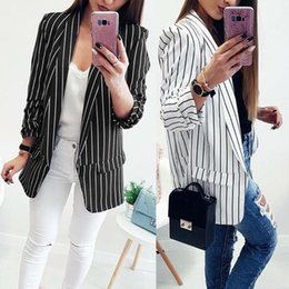 women black white striped jacket Canada - 2020 Casual Blazers Spring Slim Fit Women Business Formal Jackets Office Work Ladies Black And White Stripe Blazer Coat Style