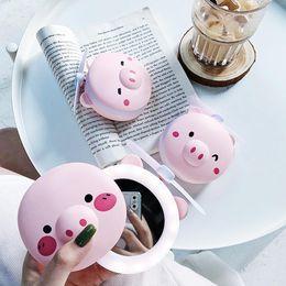 Cartoon makeup mirror online shopping - LED Mirror Light Yfashion Cartoon Pig Makeup Mirror Fan USB Charging Portable Handheld Mini Fan Cosmetic Tools
