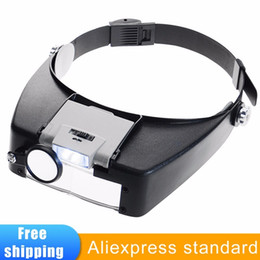 Loupe Wholesalers Australia - Headband Magnifier Led Light Head Lamp Magnifying Glass Jeweler Loupe With Led Lights 1.5x 3 X 8.5x 10x