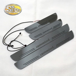 Discount car door sill plates - SNCN Customized Acrylic Dynamic LED Welcome Pedal Car Scuff Plate Pedal Door Sill Pathway Light 2pcs or 4pcs