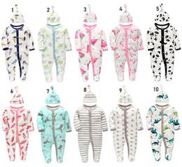 $enCountryForm.capitalKeyWord NZ - Newborn toddle baby girls boys Rompers Jumpsuit+Hat set infant clothes 100% cotton A Grade soft safe Long Sleeve Flamingo Panda dropship