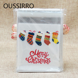 Adhesive Packaging Bags Australia - 2018 50pcs Colorful Christmas Socks Plastic Cookies Packaging Bags Xmas Self Adhesive Gift Bag Candy Biscuit Pouch Party Decor C18112701