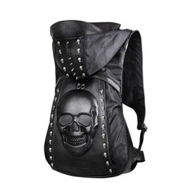 $enCountryForm.capitalKeyWord Australia - New 2017 Fashion Personality 3D Skull Leather Backpack Rivets Skull Backpack With Hood Cap Apparel Bag Cross Bags Hiphop Man 585New