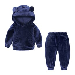Wholesale 2018 Children Clothing Set Baby Boys Autumn Spring Pleuche Hooded Jacket Pants Baby Girls Fashion Sportswear Suit