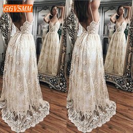 long bohemian prom dresses 2019 - Luxury Lace Long Party Dresses Evening 2019 Bohemian Evening Gown Casual Sleeveless Sexy Backless Women Banquet Maxi Dre