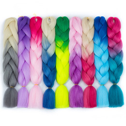 "jumbo box braiding hair Australia - Ombre High Temperature Fiber Braiding Synthetic Crochet Jumbo Braids 24"" 100g Rainbow Ombre Tone Color Braiding Hair"