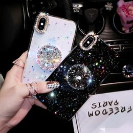 Motorola X Cases Australia - Luxury Bling Diamond Airbag Bracket Kickstand Epoxy Stars Moon Soft TPU Back Cover Case For iPhone XS Max XR X 8 7 6 6S Plus