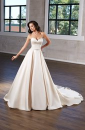 line wedding illusion neckline crystal sweetheart NZ - Simple Wedding Dresses Strapless Sweetheart Neckline Beaded Belt Satin Wedding Dress Bridal Gowns Cheap Plus Size Bride Formal Gown