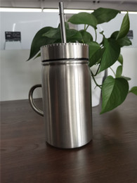 $enCountryForm.capitalKeyWord Australia - 17OZ Stainless Steel Mason jar with Stainless Steel lid and straw Coffee beer juice mug mason Cans drinking sippy with handle