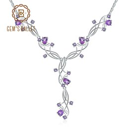Amethyst bridAl jewelry online shopping - GEM S BALLET Ct Natural Amethyst Bridal Necklace Sterling Silver Gemstone Wedding Necklace For Women Fine Jewelry