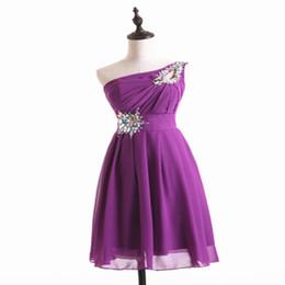 00635a6395c Perlen Chiffon Kurze Brautjungfernkleider Lila Himmelblau Rot Grün Schulter Hochzeit  Kleid sukienka wesele