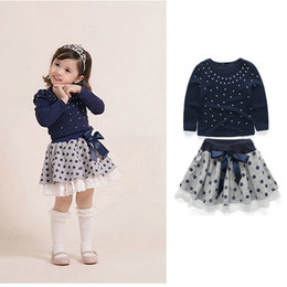 Leisure skirts online shopping - Baby Girls Princess Skirt Toddler Girls Pearl Long Sleeve Dot Tops Shirt Suit Infant Baby Leisure Lace Bow Tie Pleated Polka Dot Skirt Set