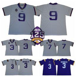 2019 LSU Tigers 125th White 9 Joe Burrow 3 Odell Beckham Jr. 7 Leonard  Fournette Patrick Peterson Tyrann Mathieu College Football Jerseys 5667de013