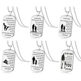 $enCountryForm.capitalKeyWord Australia - TO MY SON TO My Daughter Inspirational necklaces For Boys Girls Stainless steel dog tag Pendant beads chains Dad Mom Jewelry Gift