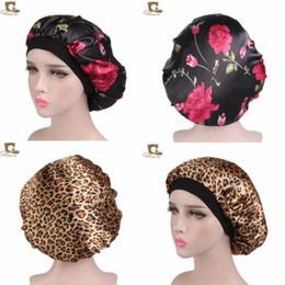 Women Satin Night Beauty Salon Sleep Cap Cover Hair Bonnet Hat Silk Head Wide Elastic Band For Curly Springy Hair Chemo Cap on Sale