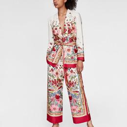 europe suits 2019 - Summer Europe Women Vintage Two Piece Lace Up Floral Suits Sets Ladies Fashion Street Wear Slim Blazer High Waist Wide L