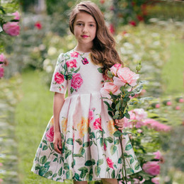 Flowers clothing online shopping - Retail girls dress baby girl flower print short sleeve pleated dresses kids evening skirts children boutique luxury designer clothing