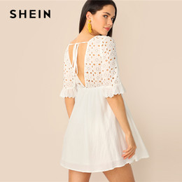 85515f27eea6 SHEIN Cutout Tie Back Schiffy Smock Dress White Half Sleeve V Neck Women  Dresses 2019 Eyelet Embroidery Summer Dresses