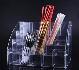 Lipstick Racks Australia - Clear acrylic Cosmetic Brush Eyeshadow Pencil Pen Lipstick Display Stand Rack Support Organizer Holder For Desk Office