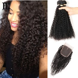$enCountryForm.capitalKeyWord NZ - Brazilian Virgin Human Hair Afro Kinky Curly Bundles With Closure Bundles With Closure Brazilian Hair Weave Bundles With Closure Water Deep
