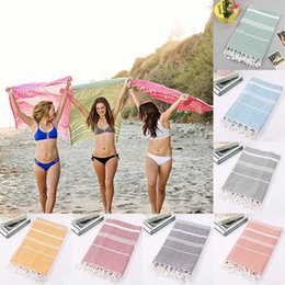 Wholesale colorful towel New Turkish Hammam Peshtemal Pestemal Cotton Bath Towel Gift Spa Gym Yoga Beach towel X180cm MMA1910