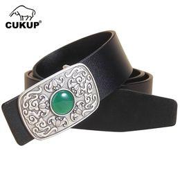 UniqUe belts for men online shopping - CUKUP Unique Design Men s Jade Decorative Smooth Buckle Metal Belts Cow Genuine Leather Belt for Men Retro Accessories LUCK773