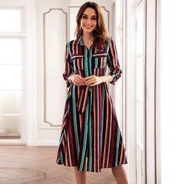 $enCountryForm.capitalKeyWord Australia - Women Colorful Striped Print Long Dress Ladies Fashion Autumn Lapel Neck Panelled Dresses Loose Casual Womens Clothing