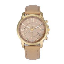 Wome Watches Australia - Fashion Hot Wome Watch Geneva Roman Numerals Faux Leather Analog Quartz Wrist Watch New 215