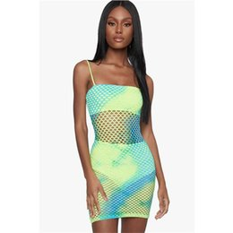 hot sexy see through dresses NZ - Women Dress Mesh Hollow Out Hot Sexy See Through Sexy Clubwear Mini Party Dresses Spaghetti Strap Pink Green