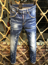Cheap rip jeans online shopping - 2019 Fashion Italy Brand Rock Biker Jeans Men Ripped Denim Tearing D2 Trousers Skinny Mens Jeans For Men Cheap Pants Ruched Boy Jeans