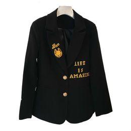 cb23a0caf41a98 Frauen Mantel Stickerei Brief Farbe Passende Blazer Mäntel Frauen Schwarz Mode  Vintage Brief Anzug Frau 2019 Neue Lose R215
