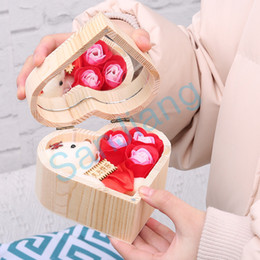 wholesale rose shaped soap UK - 2020 Valentine's Day Heart Shape Wooden Box Rose Flower Mother's Day Hand Made Rose Flower Soaps With Mirror Box Girls Bouquet Gifts D3903