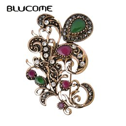 Antique Flower Brooch NZ - drop brooch Blucome Vintage Flower Corsage Hair Accessories Resin Brooches Pins Turkish Water Drop Brooch Antique Gold Color Headwear Pins