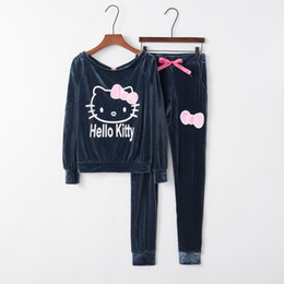 45828a793 On sale 2 pcs women ladies Hello Kitty Printed long sleeve soft Velvet  racksuit Set home pullover sets clothes soft pants+tops
