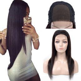 Human Hair Density Australia - 4x4 Closure Wigs for Black Women 180% 250% Density Human Hair Straight Lace Wigs Natural Black Color Cheap Peruvian Wig Remy Hair