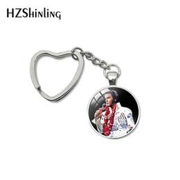 Cars Characters NZ - 2019 Fashion Elvis Presley Glass Cabochon Heart Keychain Glass Dome Key Chain Elvis Presley Heart Pendant Bag Car Key Fob