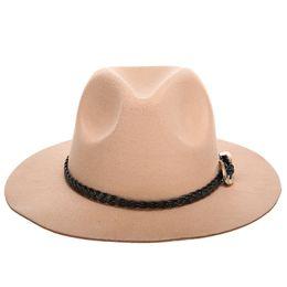 f45abdb7b0 Lã Jazz Chapéus Grande Borda De Feltro Cloche Cowboy Panamá Chapéu Fedora  Para As Mulheres Preto Trilby Borgonha Chapéu Fedora Vermelho Com Cinto