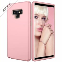 Bumper Case Pc Australia - 3 In 1 Hybrid Armor Bumper Phone Case Defender Protection Shockproof PC Silicone Cover For Samsung Note 9 iPhone X 7 8 Plus OPPBag