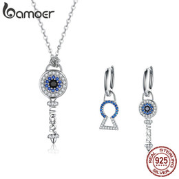 Bamoer jewelry necklaces online shopping - BAMOER High Quality Sterling Silver Crystal Key Cubic Zircon Necklace Earrings Jewelry Set for Women Fine Jewelry ZHS075