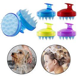 silicone hair brush Canada - 4 Color Comfortable Silicone Shampoo Scalp Massage Brush Hair Washing Comb Body Bath Spa Slimming Massage Brush Personel Health