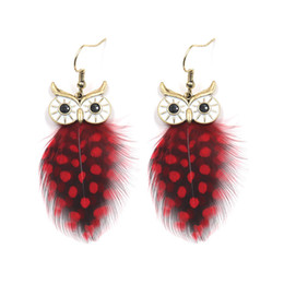 Feather Packing Australia - Fashion Fine Peacock Feather Speckle Lifelike Owl Elegant Stud Earrings For Women Gifts Accessories Earring Pack Set