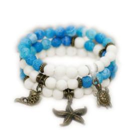 $enCountryForm.capitalKeyWord Australia - 12pcs lot Beach wedding Gift for girlfriend Stackable bracelet set Mermaid jewelry Stretch bracelet Ocean Sea life jewelry Charm bracelet