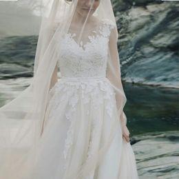 $enCountryForm.capitalKeyWord UK - New Simple A-Line Wedding Dress White Ivory Tulle Applique Lace Princess Illusion Bodice Full Length Beach Bride Wedding Gowns Custom Made