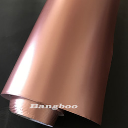 rose car stickers Canada - 1.52x20M Roll Air Bubble Free Satin Metallic Rose Gold Vinyl Wrap Film Pearl Metal Rose Gold Vinyl Car Wrap