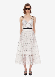 best women dress night Australia - Best quality series# prom dress v neck spaghetti strap polka dot white lace wedding holiday party date women new midi desses 9086