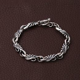 $enCountryForm.capitalKeyWord Australia - Personalized 925 sterling silver jewelry antique silver American European hand-made designer scroll link chain bracelets for men women