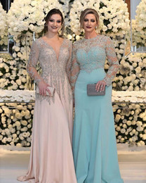 $enCountryForm.capitalKeyWord UK - Luxurious Bead Crystal Sequins Mother of the Bride Dresses Long Sleeves V Neck Pink Plus Size Formal Party Prom Gowns