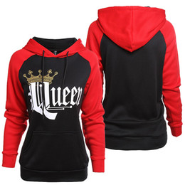 3be683f3d9 2018 Men Women Lovers Hoodies Casual KING Queen Crown Print Pocket Hoody  Slim Sweatshirt Couple Warm Hooded Pullovers Coat